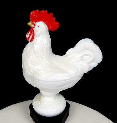 $52.47 • Buy WESTMORELAND GLASS SIGNED #139 ROOSTER WHITE MILK GLASS 8 1/2  LIDDED DISH 1950s