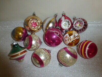 $ CDN25.07 • Buy Mixed Lot Of Vintage Christmas Glass Ornaments Pink Gold Stencils Indents UFO +