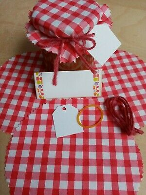 £3.35 • Buy 10 Red Gingham JAM JAR TOPPERS FABRIC COVERS TAGS & LABELS,TIE