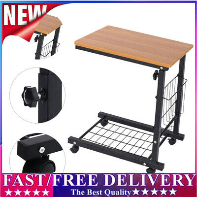 £27.99 • Buy Adjustable Sofa Side End Coffee Table Wheels C-Shaped Laptop Notebook Desk SS
