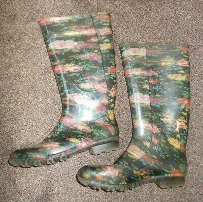£2.99 • Buy G&G Black Floral Wellington Boots Rubber Wellies Size UK 4 EU 37 Made In Italy