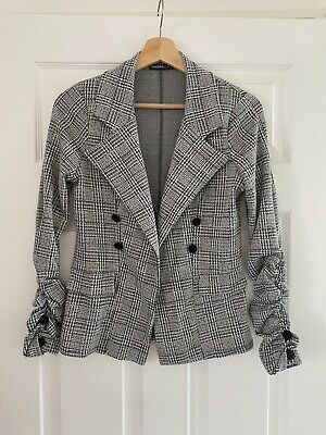 £2.50 • Buy Womens Boohoo Check Button Sleeve Blazer Size 10 Black And White