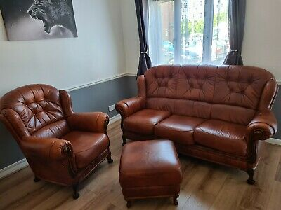 £235 • Buy Brown Leather 3 Piece Suite