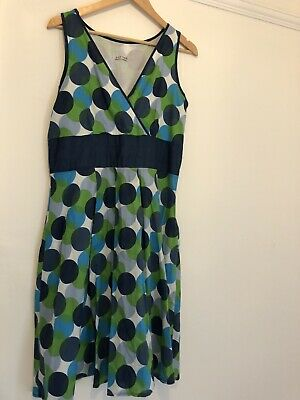 £8 • Buy George Retro Green/Blue Summer Dress Size 14 Circles Geometric Pattern Lined 50s