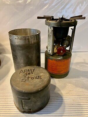 $58 • Buy Vintage Army Military Gas Pocket Stove Single Burning In Metal Case GI W/3 Legs