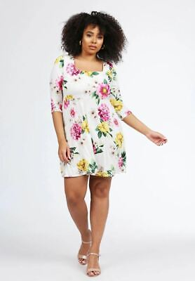 £6.99 • Buy Size 18 Cream Floral Easy To Wear Ladies Square Neckline Dress NWT - OUTLET
