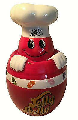£10.91 • Buy JELLY BELLY Red Ceramic Chef Candy Jar Canister Gourmet Jelly Bean VGC