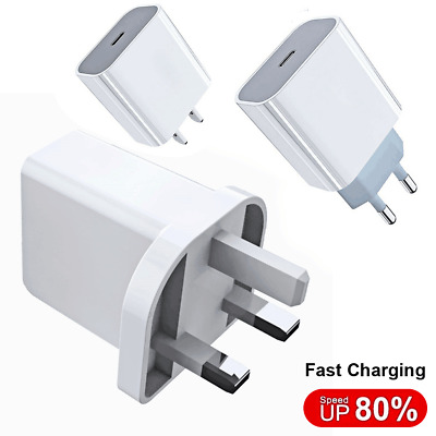 AU9.41 • Buy GENUINE FAST Wall CHARGER PLUG CABLE UK Plug PD 18W USB-C Adapter For IPhone 12