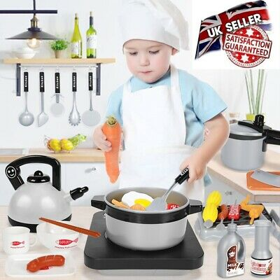 £11.99 • Buy Children Kids Kitchen Toy Set Role Play Pretend Cooking Plastic Pots And Pans UK