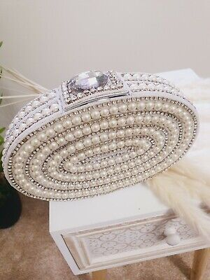 £26.99 • Buy A Beautiful Clutch Bag/purse Made Of Pearls And Diamonds.