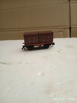 £7.99 • Buy British Trix Oo Gauge Flatbed Wagon With 2 Br Containers Load In V.g.c.