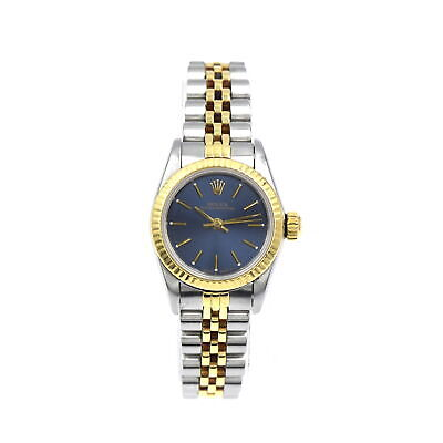 $ CDN2142.91 • Buy Ladies Rolex 67193 Oyster Perpetual Wristwatch Blue Dial Stainless 18k Gold 1988