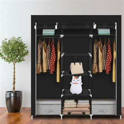 £16.99 • Buy Large Portable Canvas Fabric Clothes Wardrobe With Hanging Rail Storage Cupboard