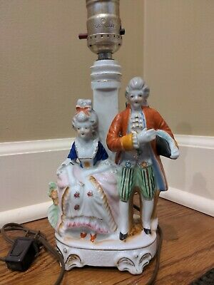 $ CDN12.54 • Buy Porcelain Small 10 In Victorian Lamp Hand Painted Figurine Royal Man Woman