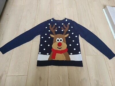 £1.99 • Buy Unisex Christmas Jumper Reindeer With 3D Nose And Snow Flakes Size Small Primark