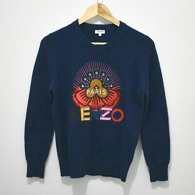 AU150 • Buy Kenzo Authentic Navy Wool Tanami Flower Jumper Size S