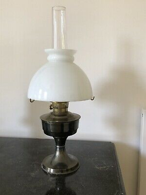 £10 • Buy Old Oil Lamp With Chimney And White Glass Shade