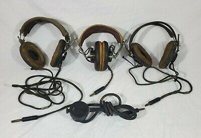 $25 • Buy Lot Of 4 Vtg WWII Military US Army Navy Air Force Headset Radio Receiver ANB H1