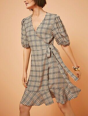 £15.99 • Buy NEXT Neutral Check Wrap Dress Size 16 BNWT RRP £48 Summer Holiday Beach Casual