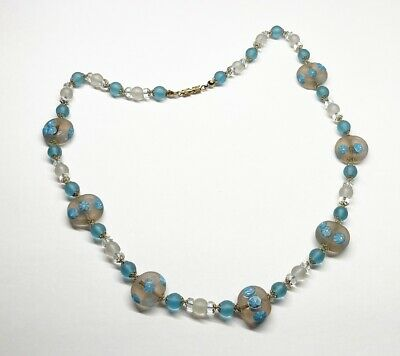 $24.99 • Buy Vintage 1950s MILLEFIORI / LAMPWORK ART GLASS Blue Frosted Glass Beaded Necklace