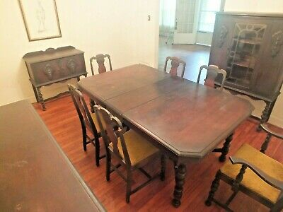 $2500 • Buy Antique Jacobean 10 Pc. Dining Set Mahogany Sideboard Hutch Table Chairs Cabinet