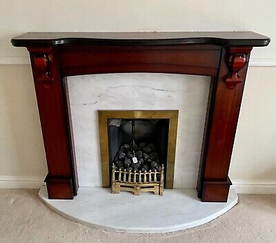 £75 • Buy Mahogany Wooden Fire Surround - Optional Fire & Marble