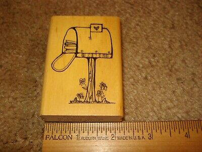 $4.99 • Buy Rubber Stamp Love Mail Mailbox DJ Inkers Wood Mount