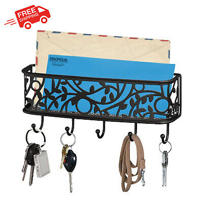 $24.79 • Buy Wall Key Hooks W Mail Holder Universal Organizer Metal Basket Accessories Other