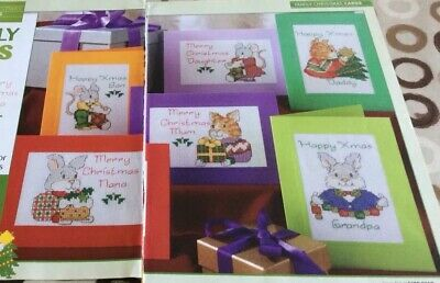 £0.99 • Buy 6 Animal Themed Family Christmas Card Designs Cross Stitch Chart Only / 853