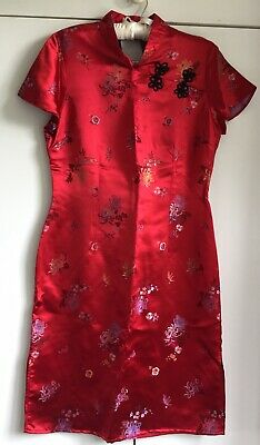 £6.99 • Buy Beautiful Quality - Red Satin Chinese Style Split Sides Dress - Neck Fastening