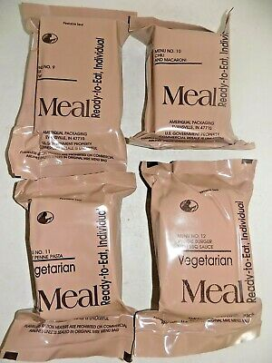 $21.50 • Buy (4) Pack US Military MRE's Menu #'s 9-12-Meals Ready-To-Eat