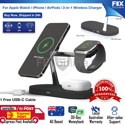 AU45.89 • Buy Magnetic FastCharging Wireless Charger Dock Stand For Airpods Apple Watch IPhone