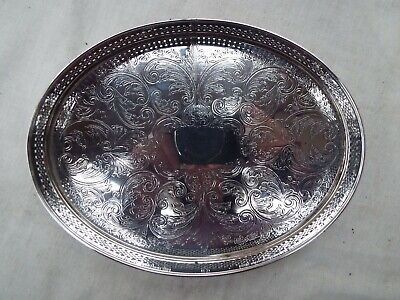 £9.99 • Buy Small SILVER PLATE OVAL GALLERY CARD TRAY