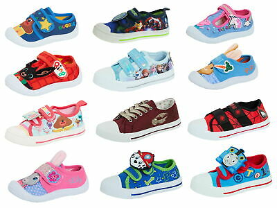 £14.95 • Buy Kids Character Canvas Pumps Boys Trainers Girls Plimsolls Easy Fasten Shoes Size