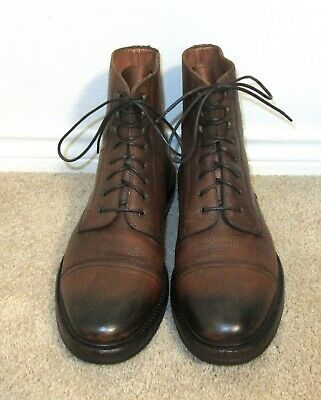 $175 • Buy Ralph Lauren Macomb Cap Toe Boots Distressed Grain Leather 11.5 D Made In Italy
