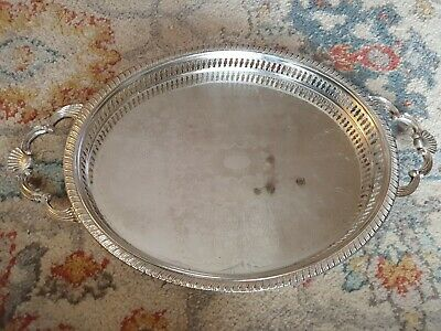 £25 • Buy Large Silver Plated TRAY & Ornate Shell Design HANDLED 14.5