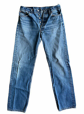 """$39.50 • Buy Vintage LEVIS 501xx Button Fly 35""""x36"""" Lightly Distressed"""