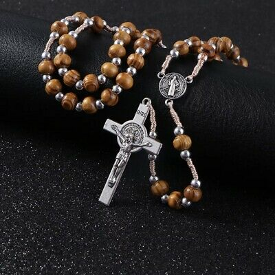 £9.40 • Buy Handmade Wooden Rosary Beads Catholic Christian Antique Traditional Style Cross