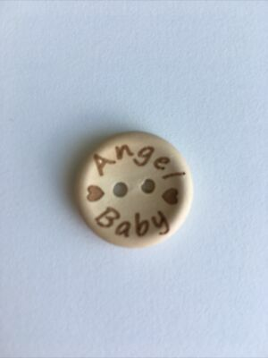 £3.25 • Buy 8 X Wooden Buttons 20mm. Angel Baby For Angel Gowns