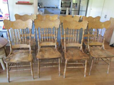AU200 • Buy X8 ANTIQUE AMERICAN SPINDLE BACK DINING CHAIRS GOOD CONDITION