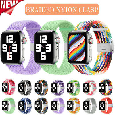 $ CDN7.51 • Buy For Apple Watch Series 6 SE 5 4 3 42/40/44MM Braided Nylon Loop Clasp Strap Band
