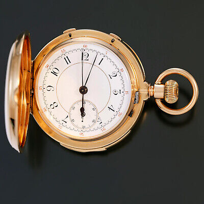 £12945.30 • Buy Rare 18k Gold Minute Repeater Split Second Chronograph Pocket Watch Ca1890