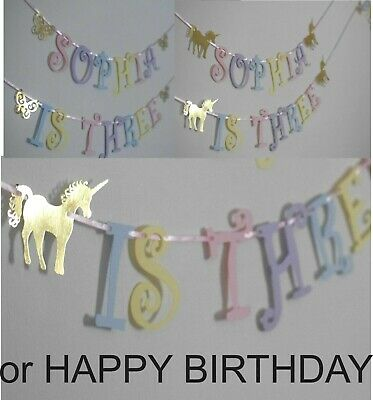 £4.95 • Buy PERSONALISED GIRLS UNICORN HAPPY BIRTHDAY Bunting Party BANNER 1ST 2ND 3RD 4TH