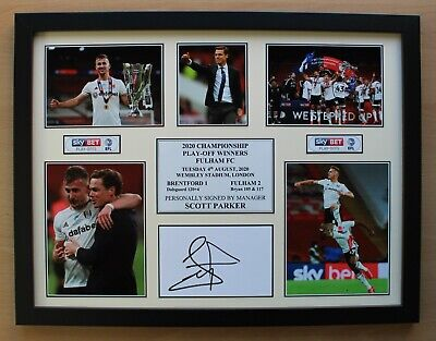 £30 • Buy 2019-20 Fulham Play-Off Winners Display Signed By Scott Parker COA (20663)