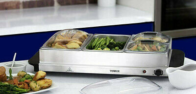 £39.99 • Buy Tower Four Portable Food Warmer Buffet Server Hot Plate Pan Bain Marie Stainless