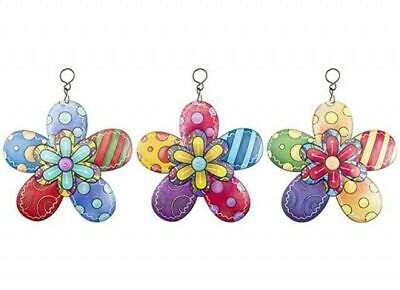 £8.75 • Buy 3 X Colourful Flower Metal Garden Wall Hanging Fence Ornament Decoration 15cm