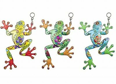£8.99 • Buy 3 X Colourful Frog Metal Garden Wall Hanging Fence Ornament Decoration