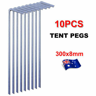 AU23.79 • Buy 10Pcs Tent Pegs Hi-Tensile Galv Steel Aussie Made Stakes 8mm X 300mm  Heavy Duty