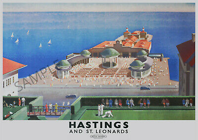 £3.99 • Buy VINTAGE RAILWAY POSTER Hastings St Leonards Seafront Pier Art Deco PRINT A3 A4