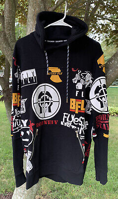 £43.65 • Buy Born Fly Rap Logo Hoodie Mens L All Over Wu Tang Naughty Nature Public Enemy